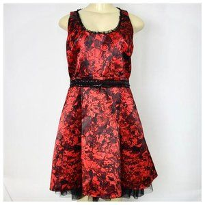 Red & Black Gem Print Skater Dress Sz 9